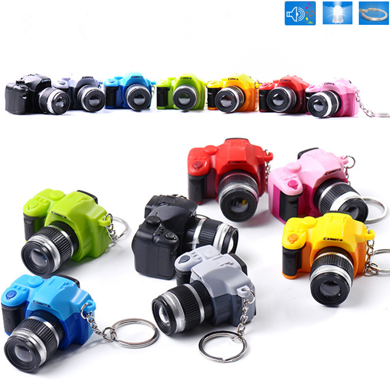 Creative Camera Led Keychains With Sound LED Flashlight Digital SLR Camera Toy LED Luminous Sound Glowing Pendant Keychain Gift