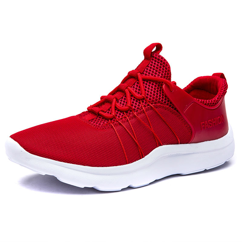 Men Shoes Casual Solid Color Breathable Air Mesh Flat Sport Walking Shoes Mens Trainers Red Bottoms