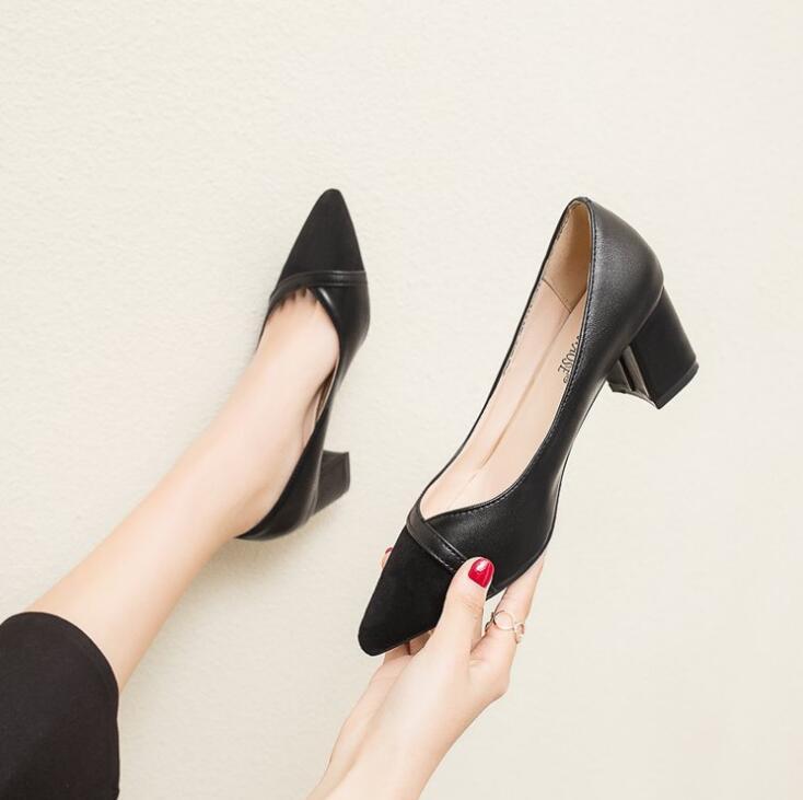 a2850a3d4 Casual Mujer Alto Primavera Zapatos 2019 Cómodos Beige Caqui Oficina Tacón  Negro Gamuza Effgt De Otoño negro Bombas ...