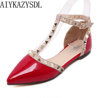 Sandalia Feminina Zapatos Mujer Pre Spring Women Sandals Rivets Metal Decoration Ballet Flats Ankle T Tied