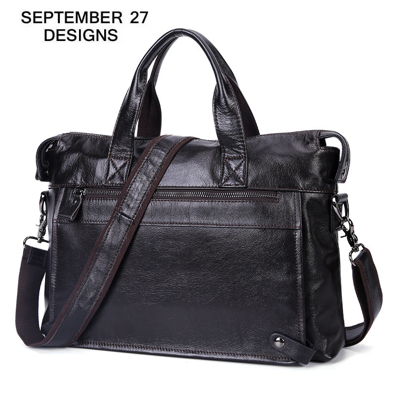 Men s Business Bags Genuine Leather Men Briefcase Office Laptop Bag 100 Real Cowhide Large Capacity