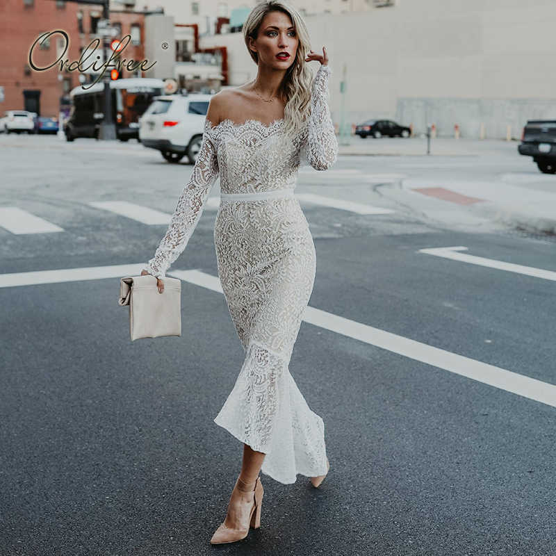 c3d245c98a5f16 ... Ordifree 2019 Summer Women White Lace Long Dress Slash Neck Off Shoulder  Sexy Bodycon Maxi Party ...