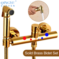 QINGYU ELEVEN soild brass toilet bidet sprayer set Hot and cold water mixer european hygienic hand gold bidet shower set
