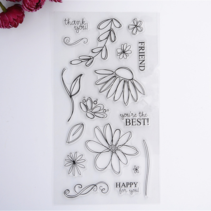 2016 New Scrapbook DIY Photo Album Cards Transparent Acrylic Silicone Rubber Clear Stamps Sheet  Flower wyf1017 scrapbook diy photo album cards transparent silicone rubber clear stamp 11x16cm camera