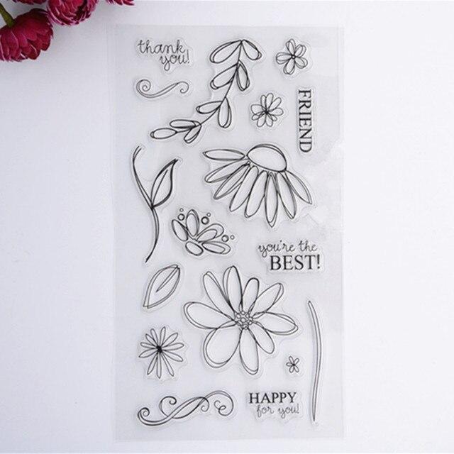 2016 neuer Sammelalbum DIY Fotoalbum Karten Transparent Acryl Silikon Gummi Clear Stamps Blatt Blume