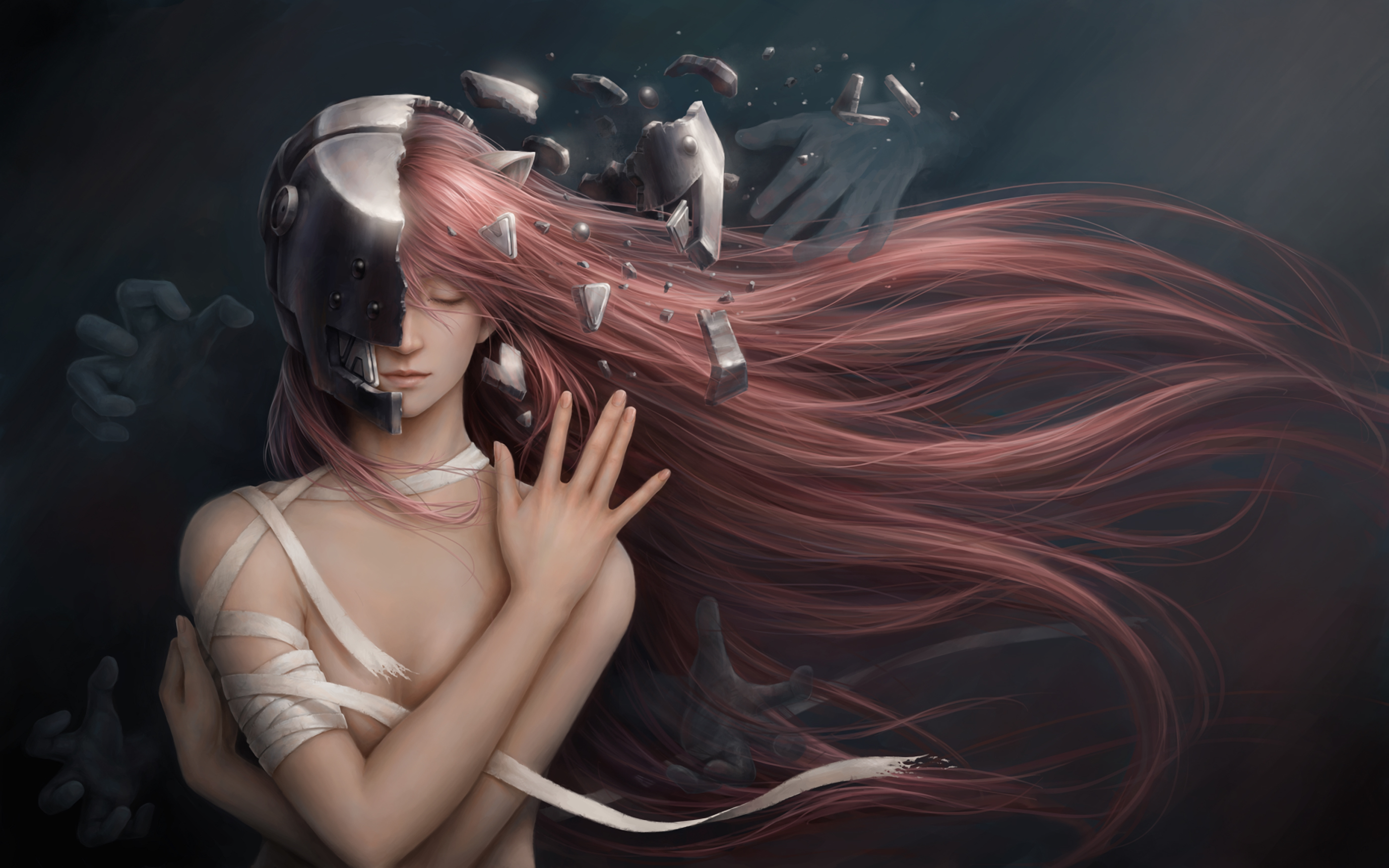 Home decoration jason peng elfen lied lucy girl red hair anime Silk Fabric Poster Print XD021