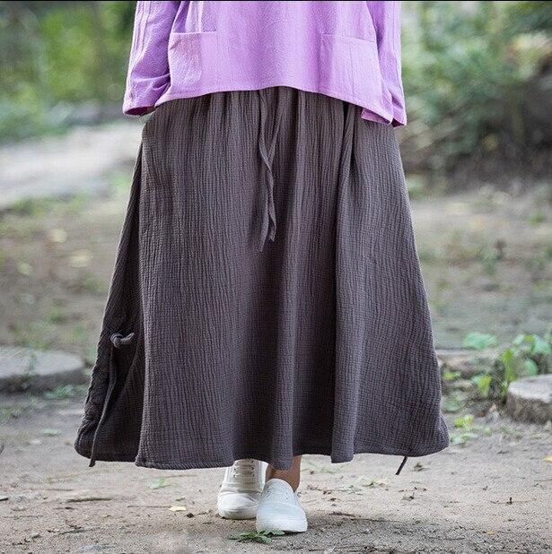 US $15.68  Kobiet długa spódnica 2019 wiosna lato jesień kobiety solidna bawełniana pościel spódnice z kieszeniami, duży rozmiar S 5XL Casual spódnice