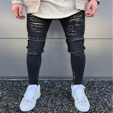 HOT 2019 Fashion Casual hip hop Distressed Ripped hole leg Zipper High street blockbuster men jeans fold knee hole Denim pants