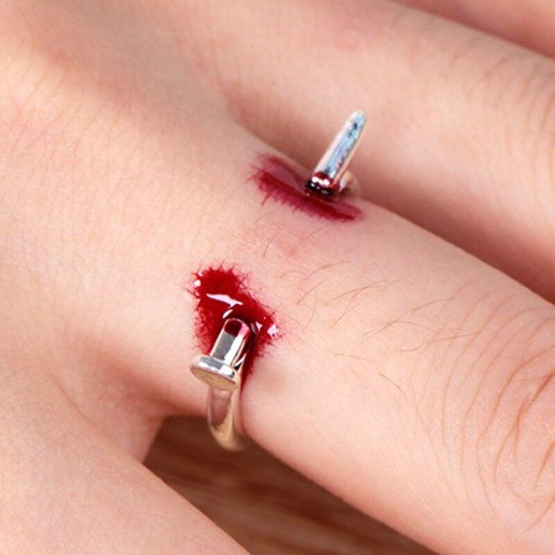 Novelty Nail Ring Finger Bleeding Toys Creative Joke Toys For Children Adult Halloween Party Toys For Friends Family Game Gift