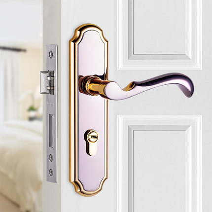 Free Shipping Door Lock Indoor Bedroom Door Lock Three Simple Bathroom Door  Handle European Wooden Door