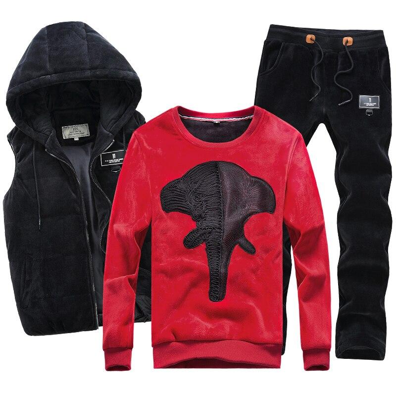 Hoodie Sweatshirt Men Set Velour Velvet Fleece Warm Hoodie Winter Coat Hooded Hip Hop Men Casual Pullover Male 3 Pieces