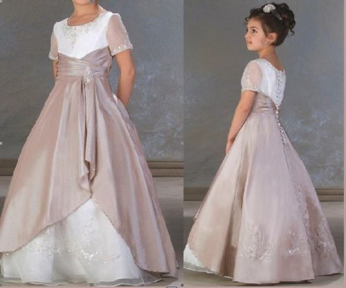 free shipping elie saab 2014 new hot short sleeves high neck sale customize handmade button floor-length Flower Girl Dresses