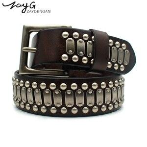 Ремень ZAYG в стиле панк, высококачественный кожаный ремень для мужчин и женщин, роскошный брендовый ремень с пряжкой, металлическая большая ...