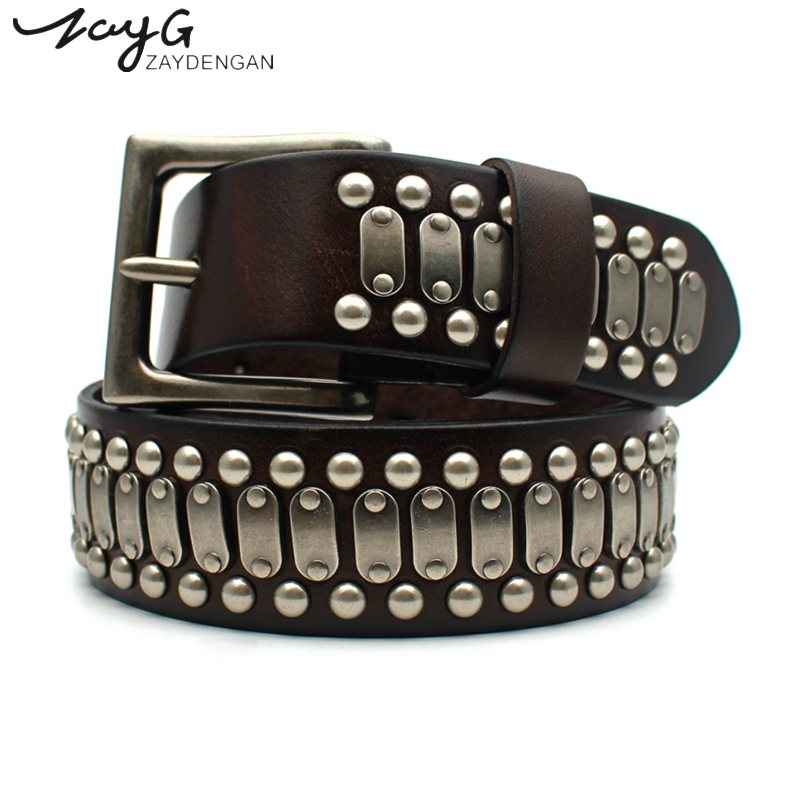 ZAYG Belt punk high quality belt Men and Woman belt leather luxury brand pin buckle belt metal big copper rivet waist seal jeans