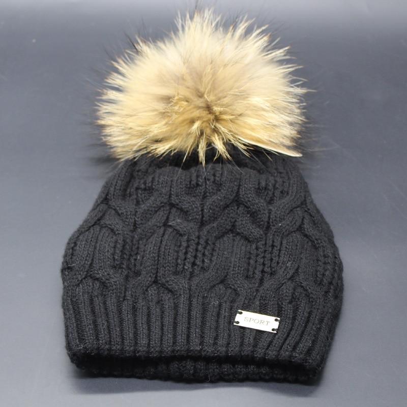 2018 Nueva Moda de Invierno Gorros de Lana Sombrero de Piel Pompones - Accesorios para la ropa - foto 4