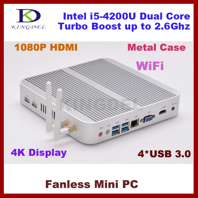 Fanless desktop computers i5 4200u,2G Ram+32G SSD+250G HDD,3D gaming,Dual Core CPU Quad Threads Wifi, 4*USB 3.0 Port,metal case