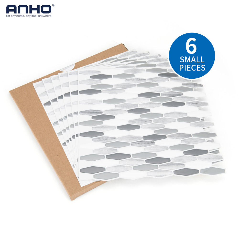 ANHO 3D Foam Wall Sticker Self Adhesive 6PCS Wall Paper DIY 12x12 inch for Home Decor Kitchen Bedroom Waterproof Hexagon Diamond stylish dolphin pattern 3d wall sticker for home decor