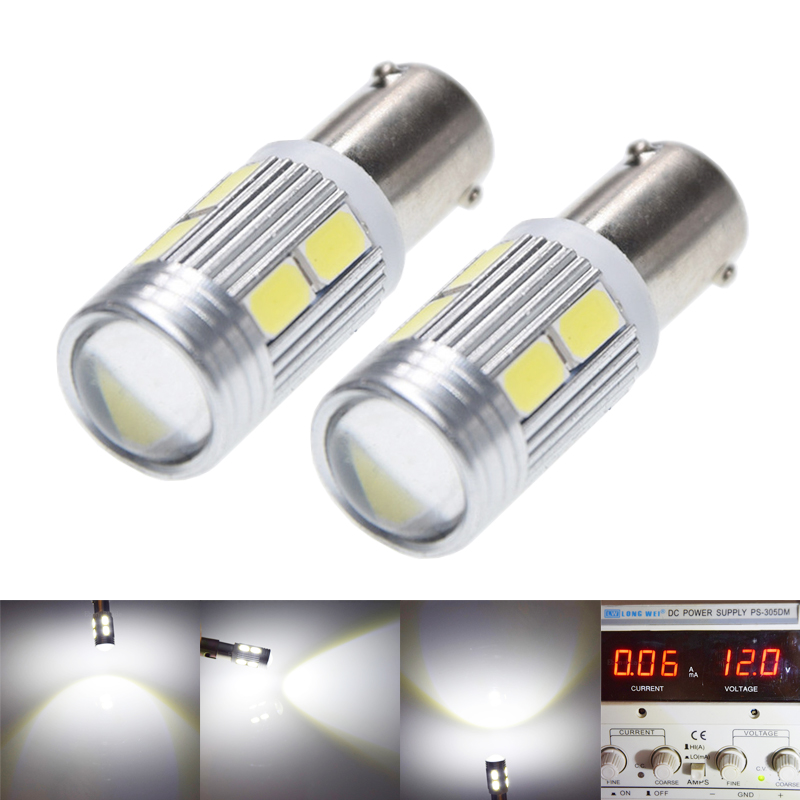2Pcs Hot H21W BAY9S 5630 5730 10 SMD LED Auto Lens Car Backup Reverse Lights Rear Fog lamp Indicator Turn Corner Bulb White 12V