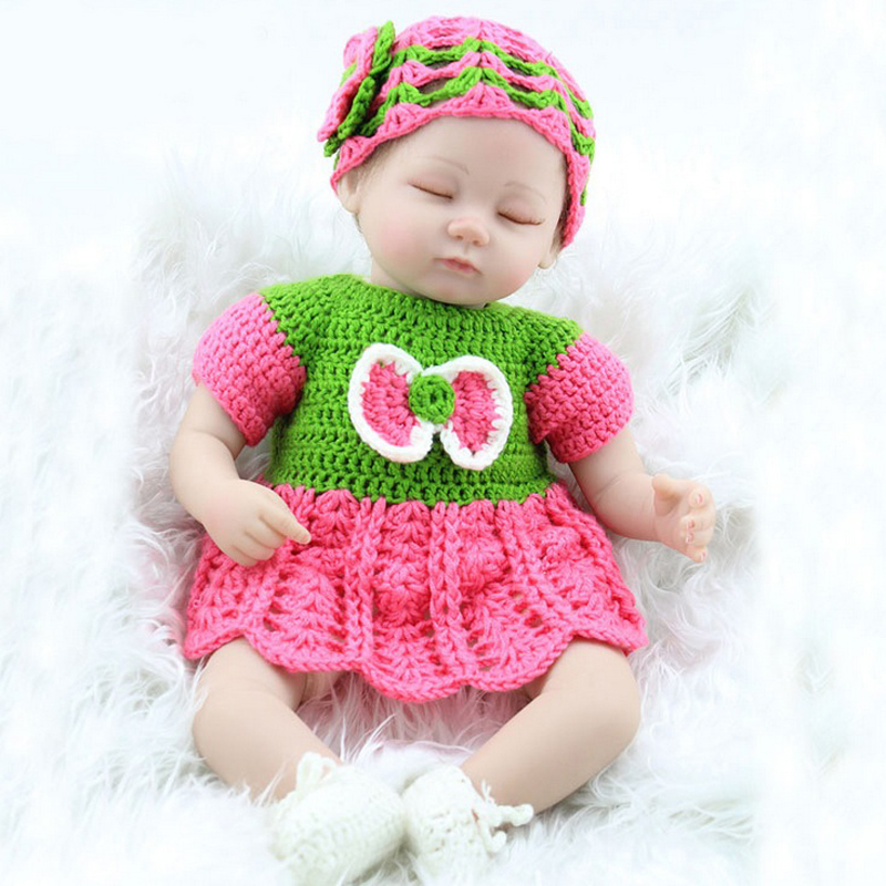Kids Best Gifts Model Toys 18 Silicone Vinyl Newborn Dolls Lovely Girl Reborn Baby Model With Knitted Dress 45cm hot sale toys 45cm pelucia hello kitty dolls toys for children girl gift baby toys plush classic toys brinquedos valentine gifts