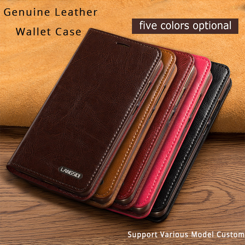 LANGSIDI Genuine Leather Case For LG G4 Luxury Oil Wax Real Leather Card Slots Silicon Stand Holder Business Wallet Bags