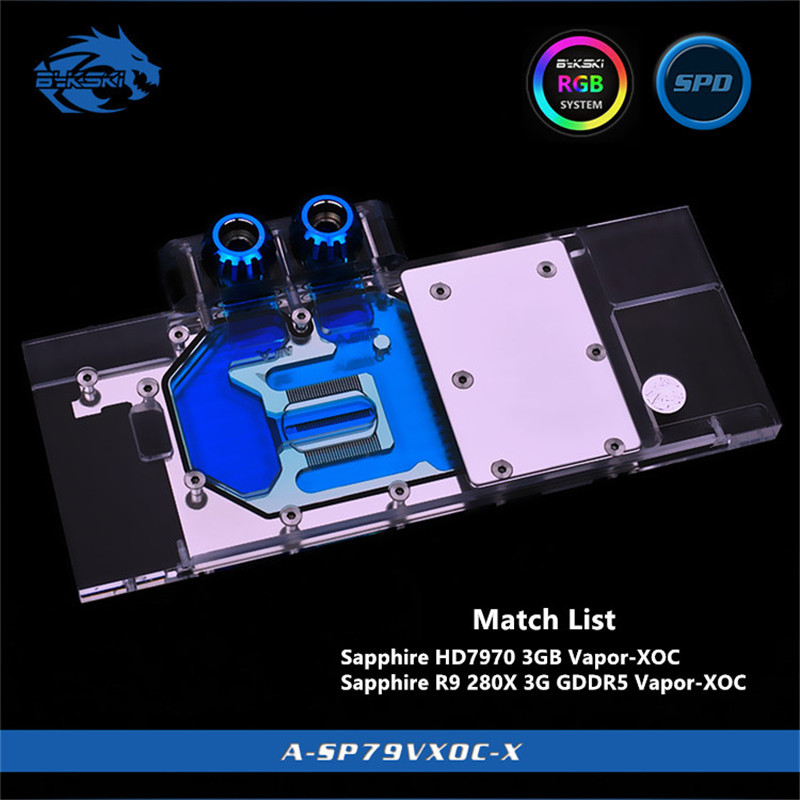 Bykski Full Coverage GPU Water Block For Sapphire HD7970/R9280X GDDR5 Vapor-XOC Graphics Card A-SP79VXOC-X
