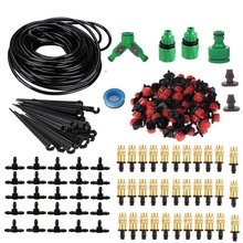 hot deal buy 25m garden diy automatic watering micro drip irrigation system garden self watering kits with adjustable dripper spray cooling