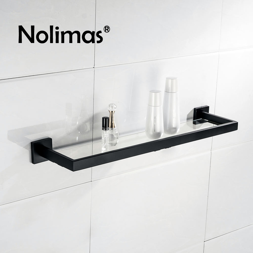 Black Matte SUS 304 Stainless Steel Glass Toilet Shelf Solid Square 55 CM Length Single Layer Towel Rack Bathroom Accessories stainless steel 304 two layer bath shelves wall towel washing shower basket bar shelf with hooks bathroom accessories 80416