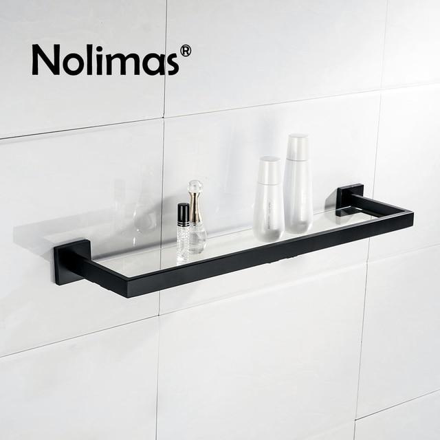 Noir Mat SUS 304 En Acier Inoxydable De Toilette En Verre Étagère ...