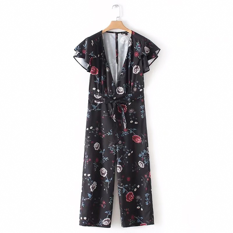 Bella Philosophy 2018 spring women loose print jumpsuits V Neck ruffles women floral rompers chiffon ladies calf length rompers
