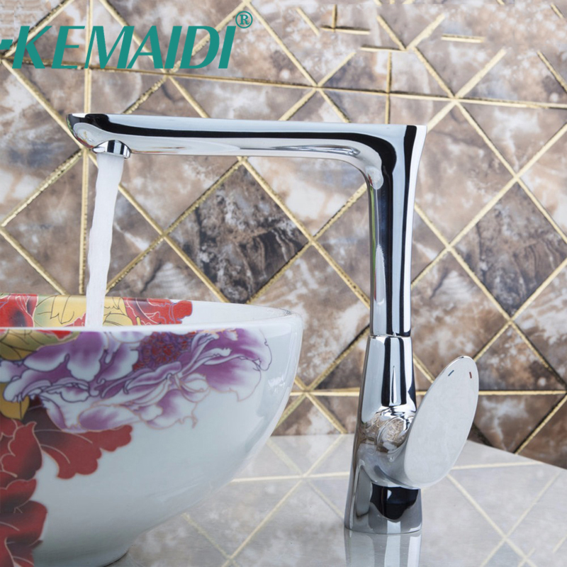 KEMAIDI Chrome Polished Deck Mounted Kitchen Faucet Single Holder Singler Hole Swivel Spout Kitchen Sink Water Mixer Tap