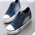 O Envio gratuito de 2016 Novos Sapatos de Lona de Lazer Da Moda Sapatos Femininos Sapatos Casuais calças de Brim Das Mulheres Azul 35-40