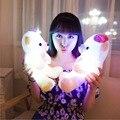 30 CM que brilla intensamente colorido suave peluche de felpa juguetes de peluche oso luminoso oso de peluche regalos encantadores de la navidad para los niños y amigos YZT0165