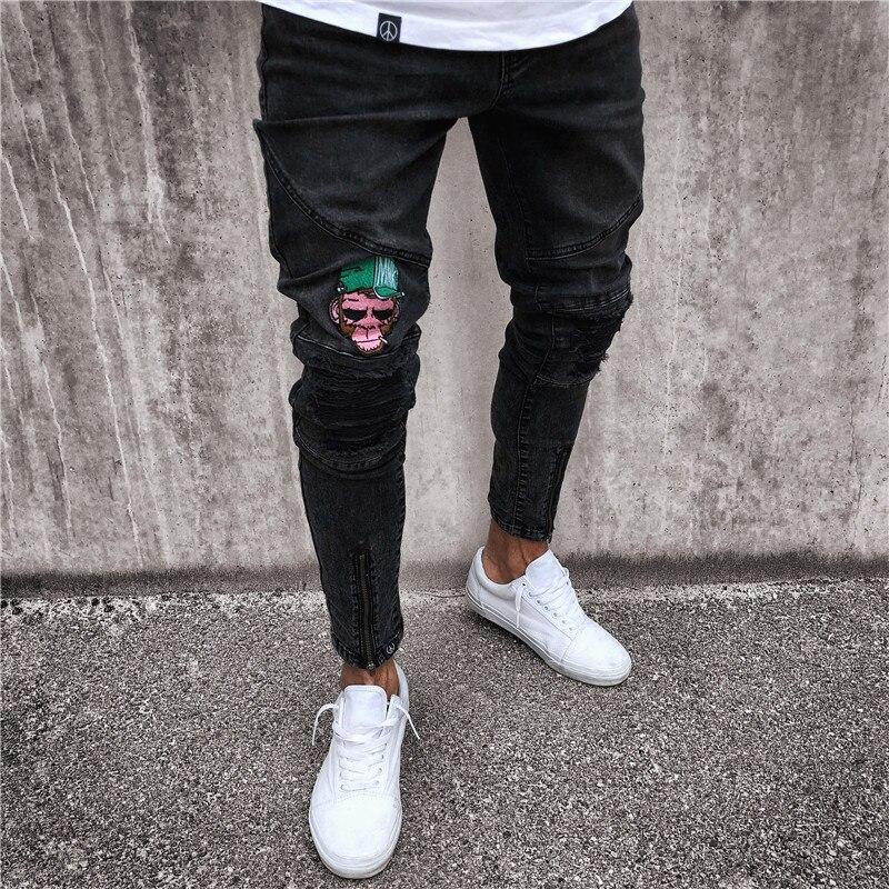 H. A. Sueno 2018 pantalon crayon noir mode hip hop singe broderie jeans hommes slim fit denimpantalon jeans de motard de rue haute