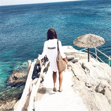 Front Short Back Long Mermaid Print Beach Top Shirt Dress White Cotton Tunic Women Summer Beachwear Bathing Suit Cover Ups N324