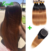 Ombre Bundles With Closure 1B/30 Two Tone Ombre Human Hair Weave Brazilian Straight Blonde 3 Bundles With Lace Closure Remy Hair