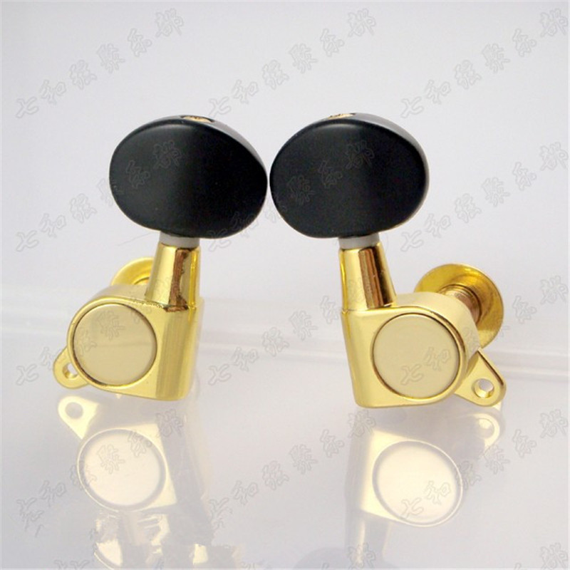 3R3L Gold Inline Acoustic Electric Guitar Tuning Pegs Tuners Machine Heads With Big oval Black Handle kaish black 6 inline 2 pin locking tuning keys pegs tuners fits usa strat tele