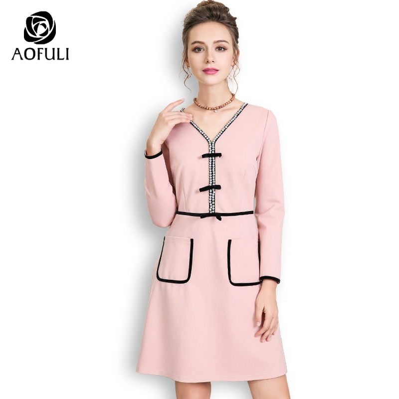 AOFULI Fashion diamonds pink office lady dresses autumn long sleeve pocket dress Plus size design dress