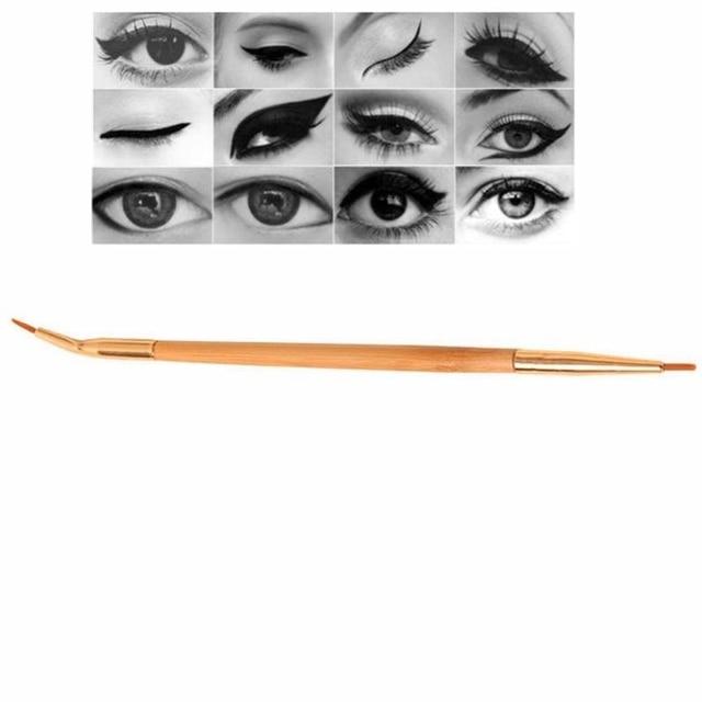 1PC Fashion Beauty Natural Bamboo Handle Bent Double End Eyeliner Brush + Lip Brush Eye Liner Makeup Tools 2