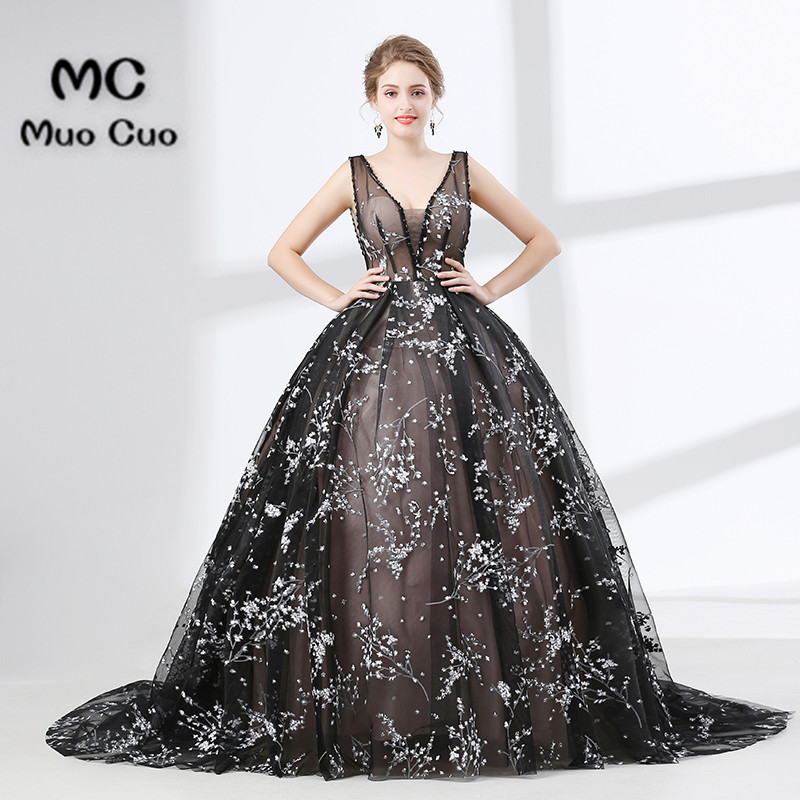 Ball Gown Elegant Prom dresses Long with Appliques Lace Deep V Neck ...