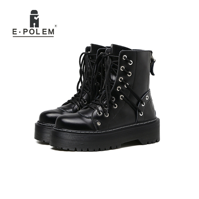 Genuine Leather Punk Boots Rock Martin Boots for Women Black 4CM Platform Thick Sole Female Round Toe Ankle Boots Shoes