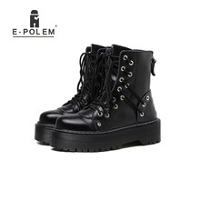 Woman Boots Winter 2019Genuine Leather Punk Rock Shoes Platform Thick Black Female Round Toe Ankle Boot Help Flash Chunky Gothic(China)