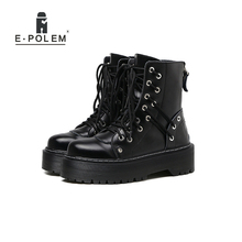 winter boots women Genuine leather boots Punk Platform heels Thick Black Female Round Toe Ankle Boot Flash Chunky Gothic wetkiss genuine leather boots women round toe boot short plush chunky heels warm female shoes zip motorcycle casual footwear