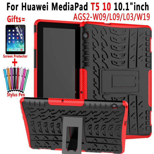 Çevre Dostu Tablet Silikon + PC Kapak için Huawei MediaPad T5 10 10.1 AGS2-W09 AGS2-L09 AGS2-L03 AGS2-W19 Kılıfı