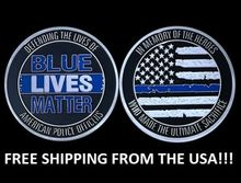 Free Shipping 50pcs/lot,Blue Lives matter large ~2 Challenge Coin BLM law enforcement police