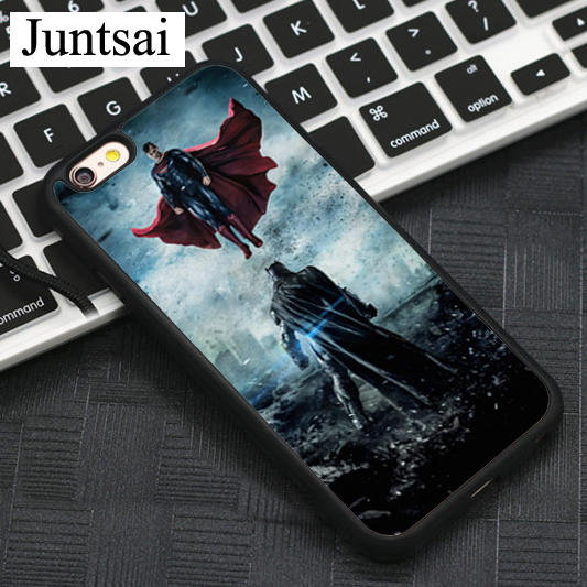 Juntsai Batman VS Superman Rubber PC Printing Black Case For iPhone 6 6s Protector Shell Skin Back Cover For iphone 6s Case