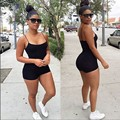 2016 Women Summer Clothing New Fashion Backless Sexy Black Jumpsuits 2 pieces Shorts Women's Bodycon Night Club Wear Rompers