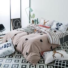 Svetanya Cotton Bedlinen Stripe Heart Print Bedding Set Double Single Bed Sheet Pillowcase and Duvet Cover