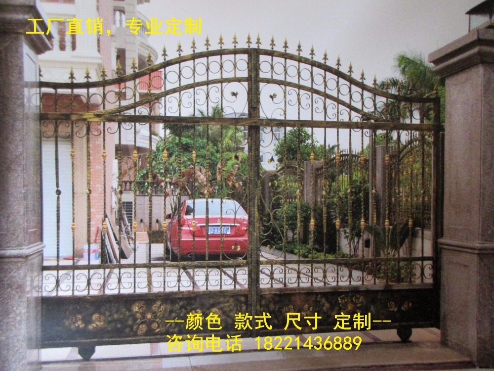 Custom Made Wrought Iron Gates Designs Whole Sale Wrought Iron Gates Metal Gates Steel Gates Hc-g85