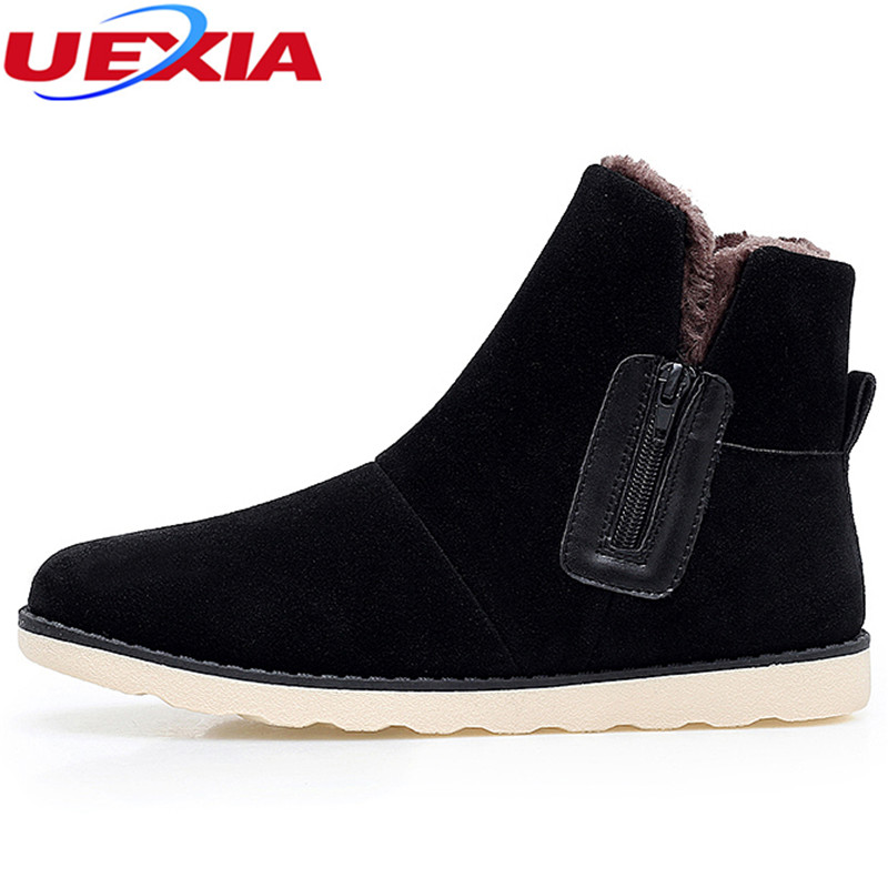 UEXIA New Leather Suede Fur Ankle Boots Cotton Snow Boots Men Winter Warm Flock Flats Shoes Zip Casual Flats Male Suede Chelsea iahead men boots men chelsea boots winter lace up flats casual shoes men leather ankle boots chaussure homme de marque mh598