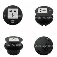 Round Table Mount Socket With Universal UK EU USA Power And RJ45 Rj11 HDMI Dual USB